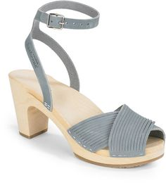 Swedish Hasbeens Blue Strappy Clog Sandals