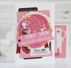 "Donut Valentine's Day card by Anya Lunchenko featuring the ""Hello Sweetheart"" Collection by #CartaBellaPaper"