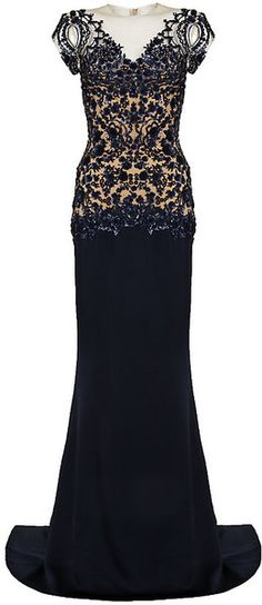 Marchesa Blue Column Gown with Sequin Embellishment