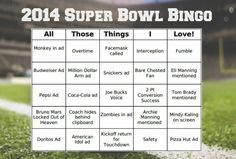 FREE 2014 Super Bowl Bingo Cards!