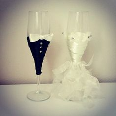 Bride And Groom Wine Glasses Wedding Glasses Wedding by medusa12, $45.00