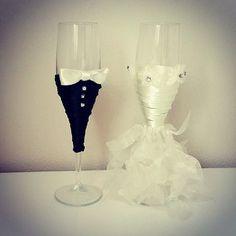 Bride And Groom Wine Glasses Wedding Glasses Wedding by medusa12, $45.00