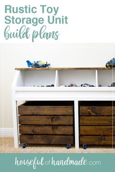 DIY Rustic Toy Storage Unit Build Plans #woodworking #storageideas #diyhome