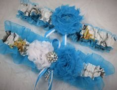 White True Timber Snowfall Camouflage and Blue Garter Set for Wedding or Prom by-TheMomentWeddingBoutique