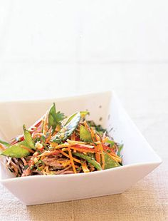JSW-marinate tofu in low sodium soy sauce, toasted sesame oil, ginger, garlic mix.  Roast julienned red pepper, green/red cabbage, frozen peas and tofu in remaining sauce.  Boil one bunch sobe noodles and toss together with sesame seeds and veggies.