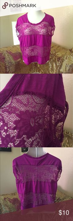 Lace mixed panel top Vibrant purple top with mixed panel lace all around. Be daring and go without a cami or play it safe either way you are winning. Worn a few times still in great condition. torrid Tops Blouses