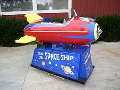 Who wants a rocket ride! Antique Toys, Vintage Toys, Rocket Ride, Space Toys, Childhood Toys, Childhood Memories, Kids Ride On, Ride On Toys, Retro Futurism