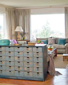 Vintage Library Card Catalogs Transformed Into Awesome Furniture. I can see this as my headboard, with the drawers opening to the bed side. Books, journal, phone, keys, flashlight, remote ...  :)      Want!