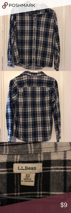 Plaid flannel LL Bean button down Soft black/gray/white  plaid flannel. No holes or stains but some extra fuzzies.  Good used condition with general wear but no rips, stains or holes. This (and other $9 items in my Poshmark closet) is part of a yearly swap party my friends and I hold. Price is low because we want these cute clothes to find a good home! Feel free to ask any questions you may have. L.L. Bean Tops Button Down Shirts