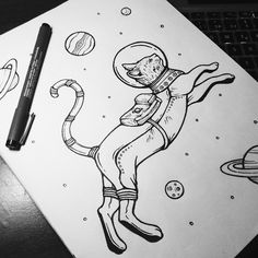 Space Planets, Space Cat, Cat Tattoo, Cat Art, Watercolor, Ink, Cat Astronaut, Cats, Drawings