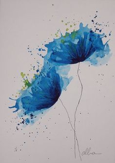 55 ideas flowers art watercolour inspiration for 2020 Watercolor Flowers, Watercolor Art, Watercolour Paintings, Watercolor Splatter, Simple Watercolor, Watercolor Pictures, Art And Illustration, Art Techniques, Water Colour Techniques