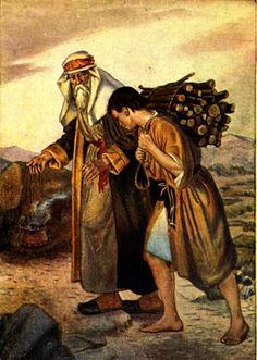 """By Rick Brunson According to the Book of Mormon, the sacrifice of Isaac by his father Abraham was done in """"similitude of God an. Father Abraham, La Sainte Bible, Christian Apologetics, Religion, Bible Illustrations, God Will Provide, Templer, Bible Pictures, Biblical Art"""