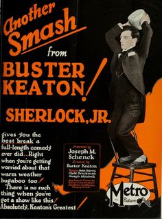 Only 45 minutes because Keaton kept trimming out jokes that didn't work on test audiences, but still technically a feature film. 45 minutes worth of amazing. Might be my favorite Keaton film. Old Movie Posters, Vintage Posters, Joseph Frank, Breaking The Fourth Wall, Ingmar Bergman, Charlie Chaplin, How Do I Get, Silent Film, Classic Films