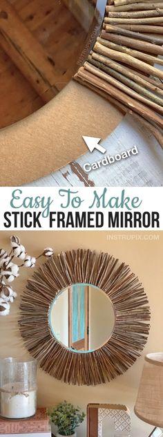Easy Rustic DIY Home Decor Idea: Stick Framed Round Mirror Tutorial Mirror Crafts, Diy Mirror, Cheap Mirrors, Round Mirrors, Cheap Diy Home Decor, Bedroom Crafts, Bedroom Wall Designs, Mirror Makeover, Home And Deco