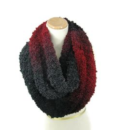 Knit Infinity Scarf Red Black Scarf Knit Scarf by ArlenesBoutique