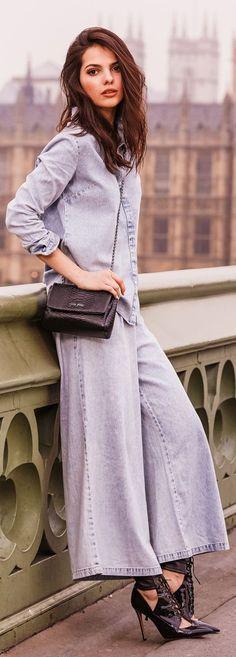 Denim Palazzo Suit / London Chic Style.