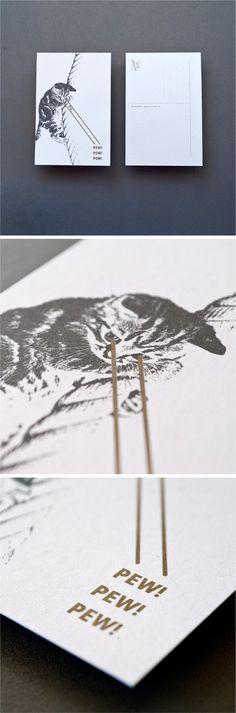 Pew Pew Pew #postcard | Designed by Redhead Design Studio  #design #print #cards #cats