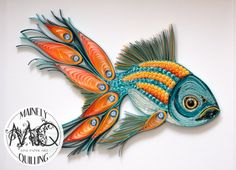 Quilled Bright Pea-Fish | A hybrid fish/peacock. Original artwork created by artist Stacy Bettencourt, owner of Mainely Quilling.