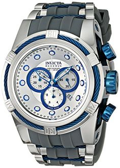 Men's Wrist Watches - Invicta Mens 14410 Bolt Chronograph Silver Dial Grey Polyurethane Watch ** You can find more details by visiting the image link.