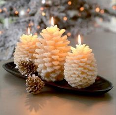 Winter pine cone candles