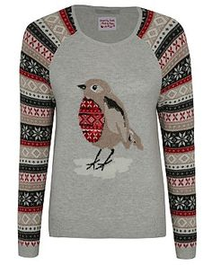 Sequined Robin Christmas Jumper