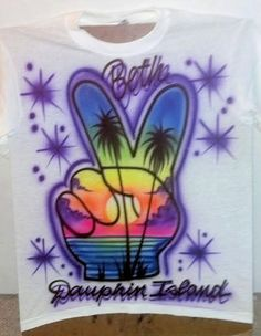 97f95d559 Peace Sign Airbrush Beach Scene Two Fingers Up. $22.99, via Etsy. Airbrush  Shirts