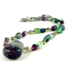 Rainbow Fluorite Necklace and Pendant Gemstones by HCJewelrybyRose, $35.00