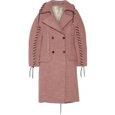 Acne Studios Evia whipstitched wool-blend coat (€705) ❤ liked on Polyvore featuring outerwear, coats, jackets, acne, coats & jackets, pink, wool blend coat, red coat, wool blend double breasted coat and oversized lapel coat