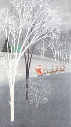 Vintage Christmas Card. Santa and Sleigh. Retro Christmas Card.