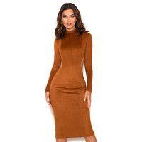 'Laurina'  Tan Suedette Cut Out Dress - SALE