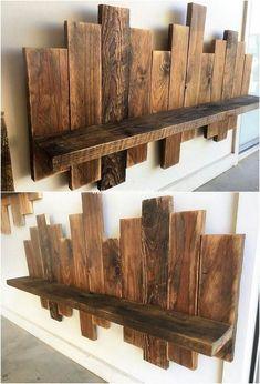 Wooden Pallet Wall, Pallet Wall Decor, Pallet Wall Shelves, Wooden Pallet Furniture, Wooden Diy, Wood Pallets, Pallet Walls, 1001 Pallets, Wood Shelves