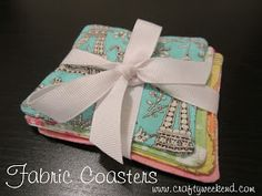 Homemade gift fabric coaster easy sewing machine projects