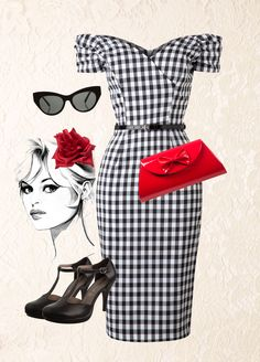 The Pretty Dress Company - 50s Fatale Gingham Pencil Dress in Black and White