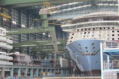 Royal Caribbean International's Quantum of the Sea in Hall 6 at Meyer Werft Papenburg, after float out of Anthem of the Seas section.   Photo by HD1080ide.