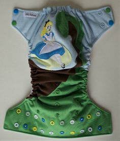 OOAK Allice in Wonderland Inspired Applique One Size Pocket Diaper