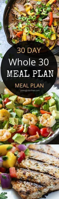 30 days of Whole30 meals! Breakfast, lunch, and dinner! Free printable menu for each week. Whole 30 meal plan that's quick and healthy! Whole30 recipes just for you. Whole30 meal planning. Whole30 meal prep. Healthy paleo meals. Healthy Whole30 recipes. Easy Whole30 recipes. Best paleo shopping guide.