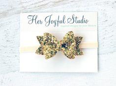 glitter bow  gold headband  sparkle headband  by HerJoyfulStudio #goldheadband #etsy #handmade #glitter #glitterheadband #glitterbow