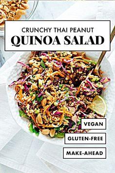 This Thai-flavored quinoa salad recipe is COLORFUL, crisp and delicious! It's also vegan - This Thai-flavored quinoa salad recipe is COLORFUL, crisp and delicious! It's also vegan and glut - Quinoa Salad Recipes, Veggie Recipes, Whole Food Recipes, Diet Recipes, Cooking Recipes, Healthy Recipes, Vegan Quinoa Recipes, Gluten Free Vegetarian Recipes, Avocado Recipes