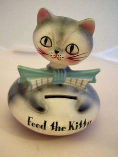 Vintage Holt Howard Feed Kitty Bank Bobble Head