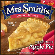 The logo for Mrs. Smith's, with the rolling pin inside the 'S', might remind consumers of a relative's home cooking. They might envision someone making a pie and using a rolling pin not unlike the one in the logo, and that is sure to bring an image of happy memories that will appeal to many.