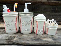 Hand Painted Baseball Mason Jar Bathroom Set~Baseball Room Decor~Baseball Birthday gift~Sports~Father's Day gift~Soap Dispenser~Mason Jars