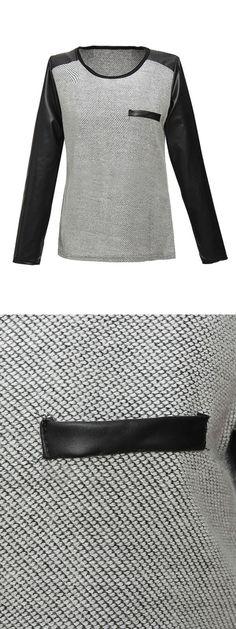 Women casual stitching pu leather long sleeve t-shirt  sweatshirts 6x #7x #sweatshirts #quality #sweatshirts #uk #sweatshirts #design #your #own #sweatshirts #quality
