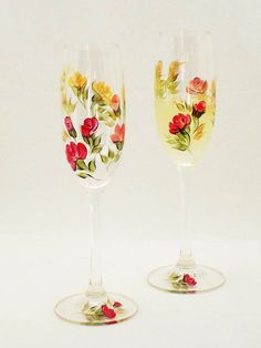 Hand-Painted Champagne Glasses  Roses of Red by HandPaintedPetals