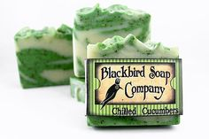 Chilled Cucumbers Bar Soap [Aroma: Freshly hand picked sweet cucumbers smothered in a blend of iced mint leaves. Other ingredients: French green clay, shea butter and aloe vera gel.] - This would make a pretty hot processed soap. - Deb