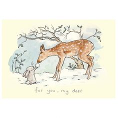 For You, My Deer Card by Anita Jeram - Two Bad Mice - Christmas Illustration - Animal Drawings, Cute Drawings, Drawing Sketches, Christmas Drawing, Christmas Art, Christmas Illustration, Illustration Art, Caricatures, Anita Jeram