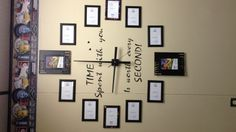 Just made the wall clock with picture frames for my classroom, thank u for the idea
