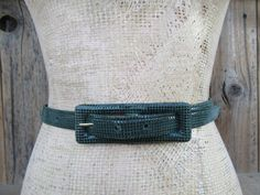 90s Forest Green Leather Skinny Belt  Carlisle Lizard Grain | Etsy