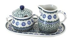 Polish Pottery Maia Large Cream  Sugar Set with Tray * Read more at the affiliate link Amazon.com on image.