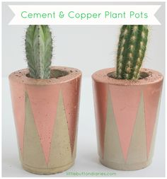 cement and copper plant pot DIY