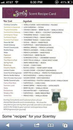 Scent Combinations :) www.vandeberg.scentsy.us